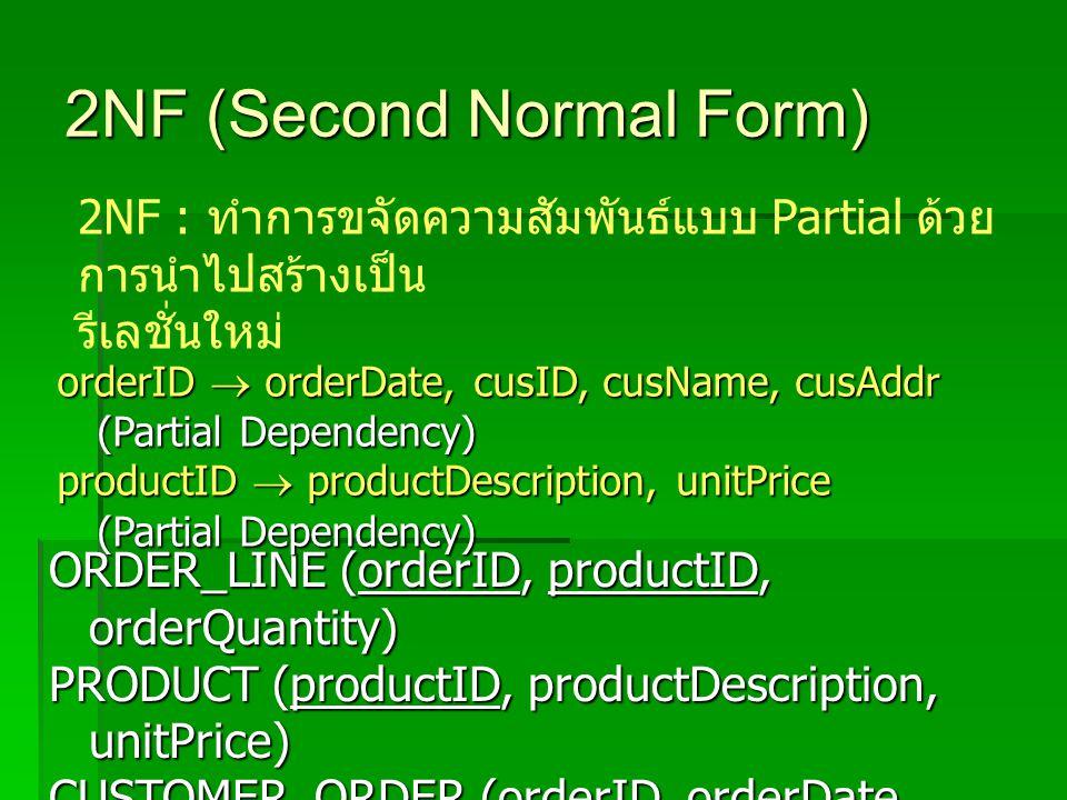 2NF (Second Normal Form) 2NF : ทำการขจัดความสัมพันธ์แบบ Partial ด้วย การนำไปสร้างเป็น รีเลชั่นใหม่ ORDER_LINE (orderID, productID, orderQuantity) PRODUCT (productID, productDescription, unitPrice) CUSTOMER_ORDER (orderID, orderDate, cusID, cusName, cusAddr) orderID  orderDate, cusID, cusName, cusAddr (Partial Dependency) productID  productDescription, unitPrice (Partial Dependency)
