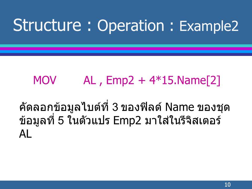 10 Structure : Operation : Example2 MOVAL, Emp2 + 4*15.Name[2] คัดลอกข้อมูลไบต์ที่ 3 ของฟิลด์ Name ของชุด ข้อมูลที่ 5 ในตัวแปร Emp2 มาใส่ในรีจิสเตอร์ AL
