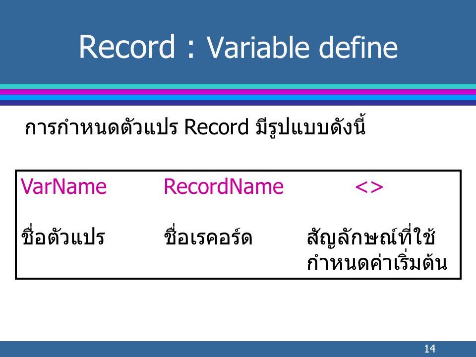 14 Record : Variable define การกำหนดตัวแปร Record มีรูปแบบดังนี้ VarNameRecordName<> ชื่อตัวแปรชื่อเรคอร์ดสัญลักษณ์ที่ใช้ กำหนดค่าเริ่มต้น