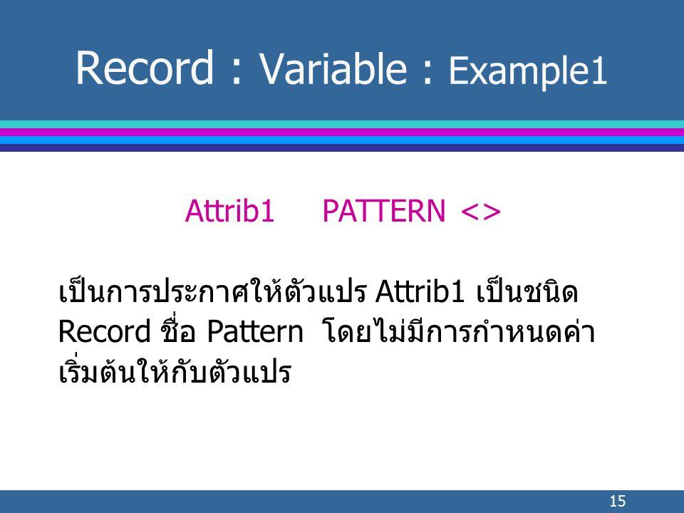 15 Record : Variable : Example1 Attrib1PATTERN<> เป็นการประกาศให้ตัวแปร Attrib1 เป็นชนิด Record ชื่อ Pattern โดยไม่มีการกำหนดค่า เริ่มต้นให้กับตัวแปร