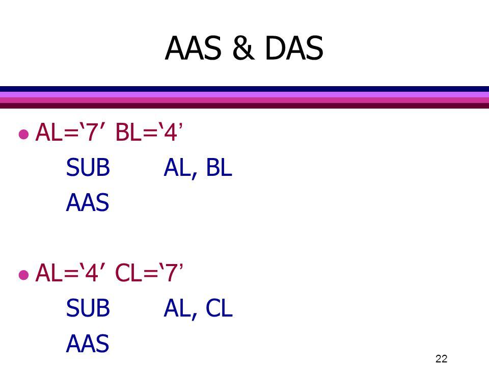 22 AAS & DAS l AL='7'BL='4' SUBAL, BL AAS l AL='4'CL='7' SUBAL, CL AAS