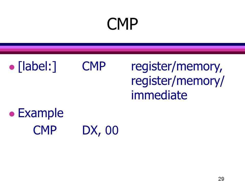 29 l [label:]CMPregister/memory, register/memory/ immediate l Example CMPDX, 00 CMP