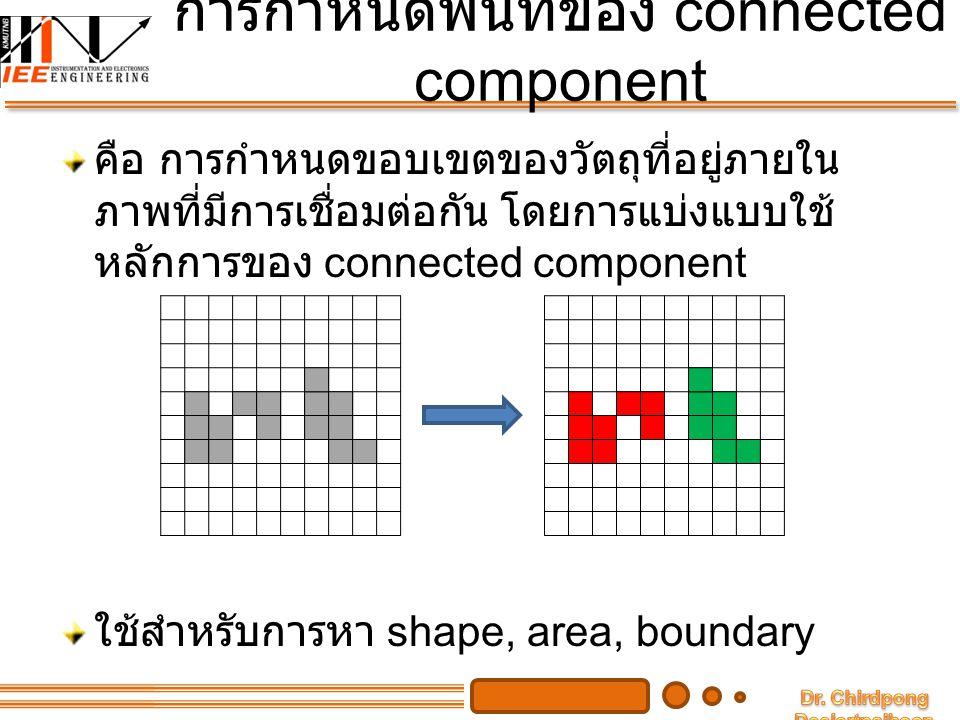 การกำหนดพื้นที่ของ connected component คือ การกำหนดขอบเขตของวัตถุที่อยู่ภายใน ภาพที่มีการเชื่อมต่อกัน โดยการแบ่งแบบใช้ หลักการของ connected component