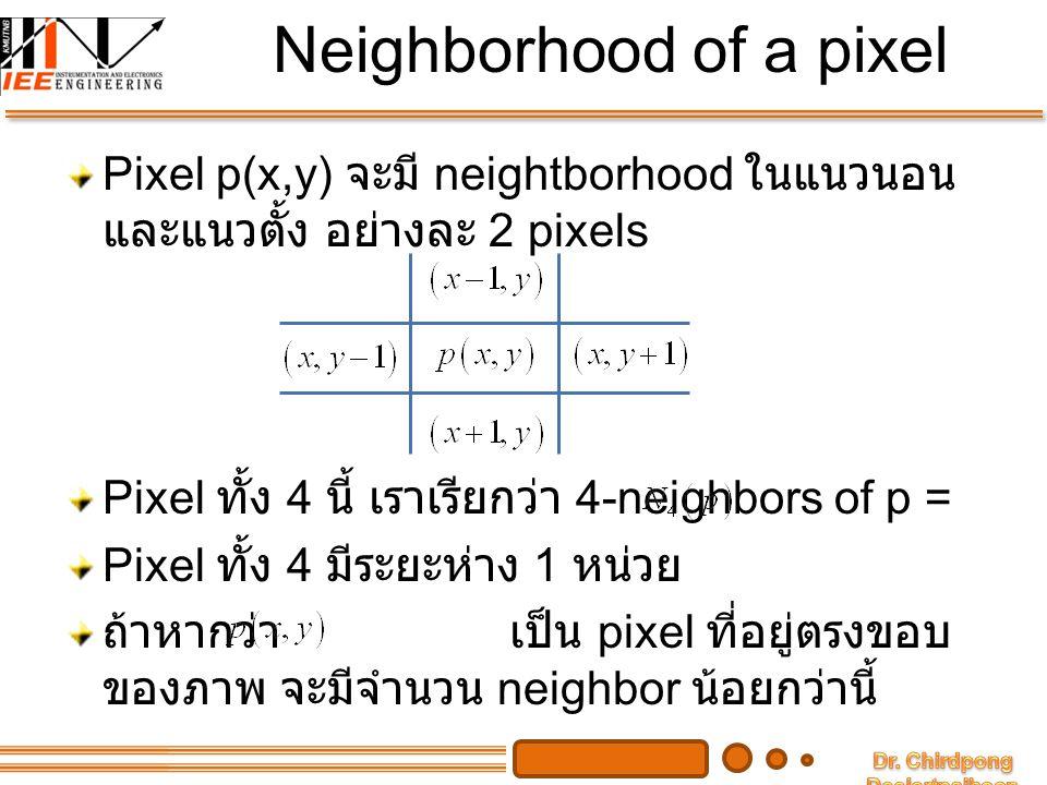 Diagonal & 8-neighbors แต่ละ pixel จะมี neighbor ในแนวทแยงมุมอีก 4 pixel ดังรูปด้านล่าง เราเรียก neighbor ในแนวทแยงมุมว่า เมื่อรวมเอา กับ เราจะได้ 8-neighbor of p = เช่นกัน ถ้า อยู่บนขอบของภาพ จะมี จำนวน 8-neighbor น้อยกว่านี้
