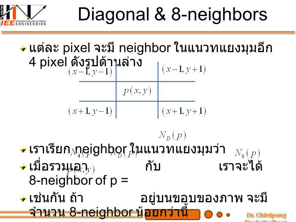 Diagonal & 8-neighbors แต่ละ pixel จะมี neighbor ในแนวทแยงมุมอีก 4 pixel ดังรูปด้านล่าง เราเรียก neighbor ในแนวทแยงมุมว่า เมื่อรวมเอา กับ เราจะได้ 8-n