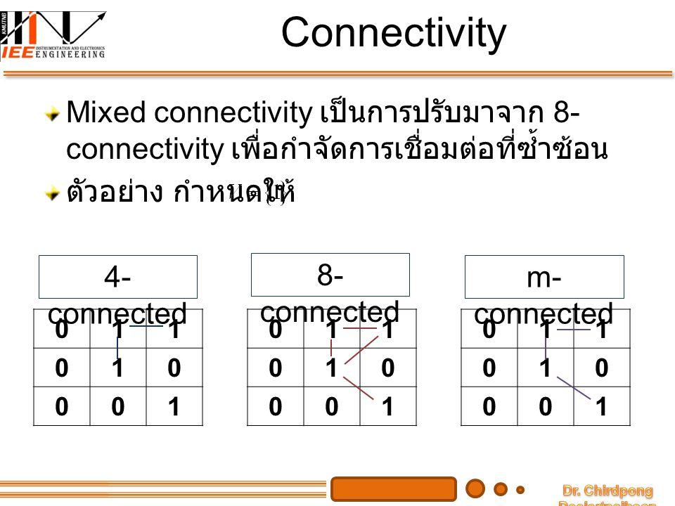 Adjacency ถ้า pixel สอง pixel ใดๆ จะเรียกว่า อยู่ติดกัน (adjacent) ถ้าหากว่ามันต่อกัน ( มี connectivity) ชนิดของ adjacency ก็จะแบ่งตามชนิดของ connectivity นั่นคือ 4-adjacency 8-adjacency m-adjacency Concept นี้ สามารถนำไปใช้กับ subset ของ ภาพใดๆ ว่า subset แต่ละอันนั้น อยู่ติดกัน หรือไม่ โดยกำหนดว่า ถ้ามี subset และ ทั้งสอง subsets จะอยู่ติดกันก็ต่อเมื่อ มี และ ที่ มีส่วนที่ connect กันอยู่