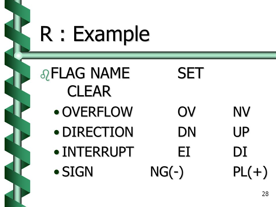 28 R : Example  FLAG NAMESET CLEAR OVERFLOWOVNVOVERFLOWOVNV DIRECTIONDNUPDIRECTIONDNUP INTERRUPTEIDIINTERRUPTEIDI SIGNNG(-)PL(+)SIGNNG(-)PL(+)