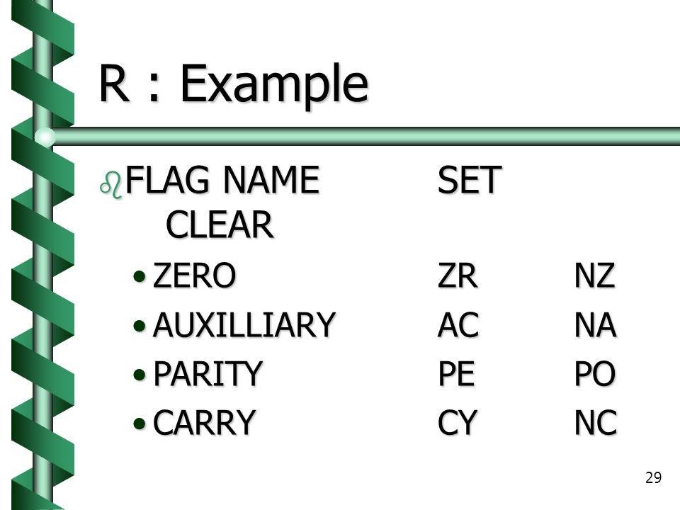 29 R : Example  FLAG NAMESET CLEAR ZEROZRNZZEROZRNZ AUXILLIARYACNAAUXILLIARYACNA PARITYPEPOPARITYPEPO CARRYCYNCCARRYCYNC