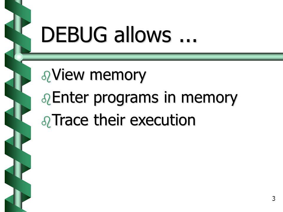 3 DEBUG allows...  View memory  Enter programs in memory  Trace their execution