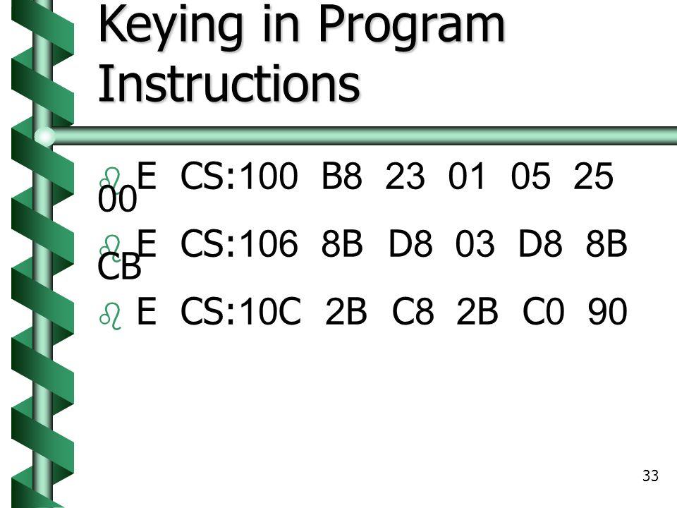 33 Keying in Program Instructions  E CS:100 B8 23 01 05 25 00  E CS:106 8B D8 03 D8 8B CB  E CS:10C 2B C8 2B C0 90