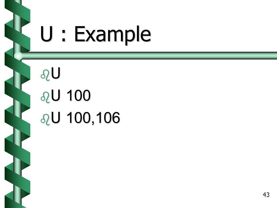 43 U : Example UUUU  U 100  U 100,106