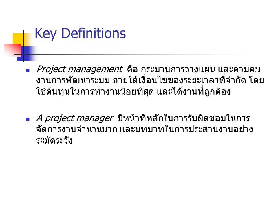 Key Definitions Project management คือ กระบวนการวางแผน และควบคุม งานการพัฒนาระบบ ภายใต้เงื่อนไขของระยะเวลาที่จำกัด โดย ใช้ต้นทุนในการทำงานน้อยที่สุด แ