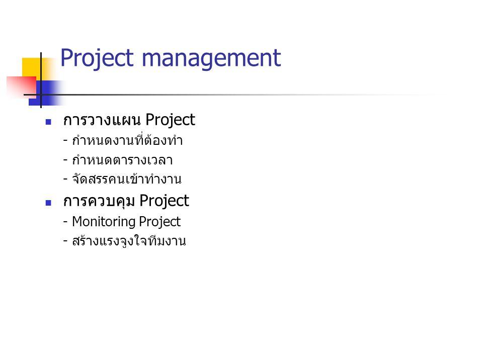 Project management การวางแผน Project - กำหนดงานที่ต้องทำ - กำหนดตารางเวลา - จัดสรรคนเข้าทำงาน การควบคุม Project - Monitoring Project - สร้างแรงจูงใจที
