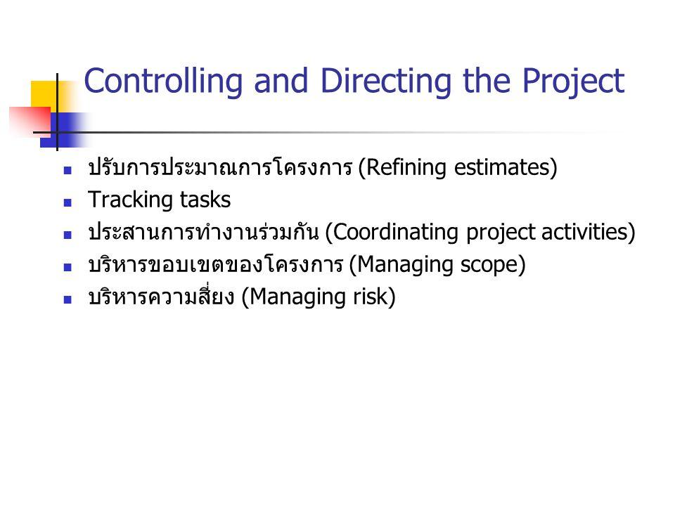 Controlling and Directing the Project ปรับการประมาณการโครงการ (Refining estimates) Tracking tasks ประสานการทำงานร่วมกัน (Coordinating project activiti