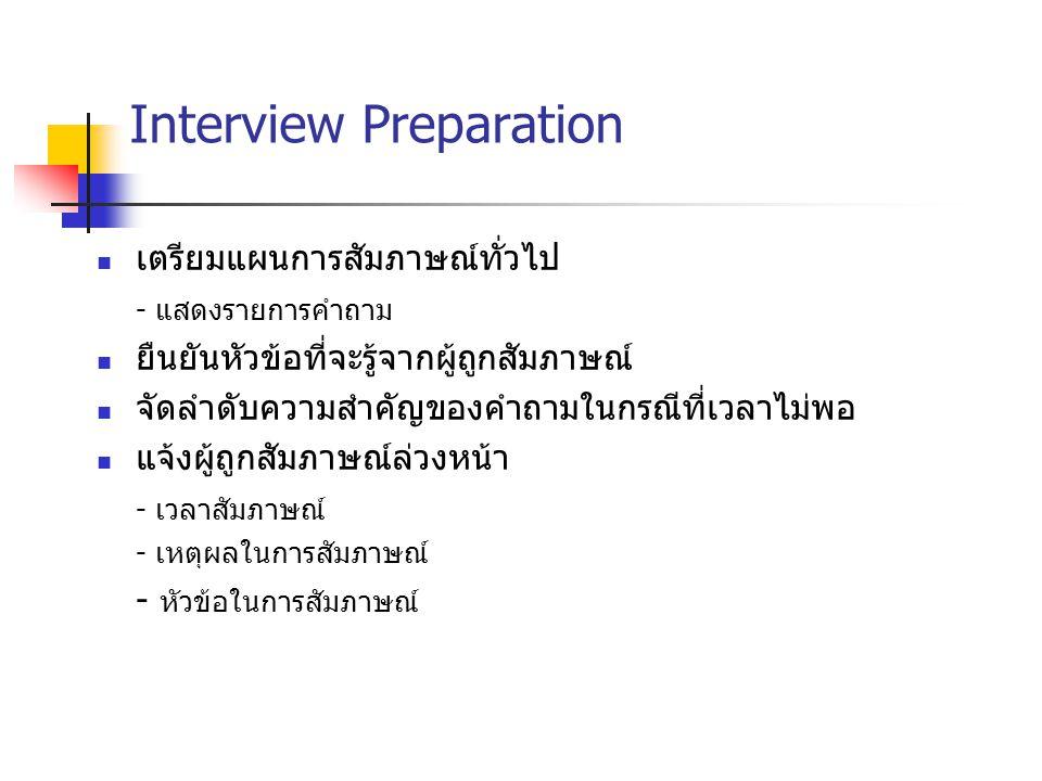 Interview Preparation เตรียมแผนการสัมภาษณ์ทั่วไป - แสดงรายการคำถาม ยืนยันหัวข้อที่จะรู้จากผู้ถูกสัมภาษณ์ จัดลำดับความสำคัญของคำถามในกรณีที่เวลาไม่พอ แ