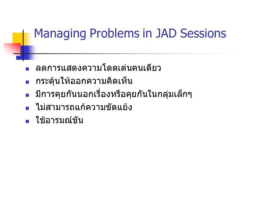 Managing Problems in JAD Sessions ลดการแสดงความโดดเด่นคนเดียว กระตุ้นให้ออกความคิดเห็น มีการคุยกันนอกเรื่องหรือคุยกันในกลุ่มเล็กๆ ไม่สามารถแก้ความขัดแ
