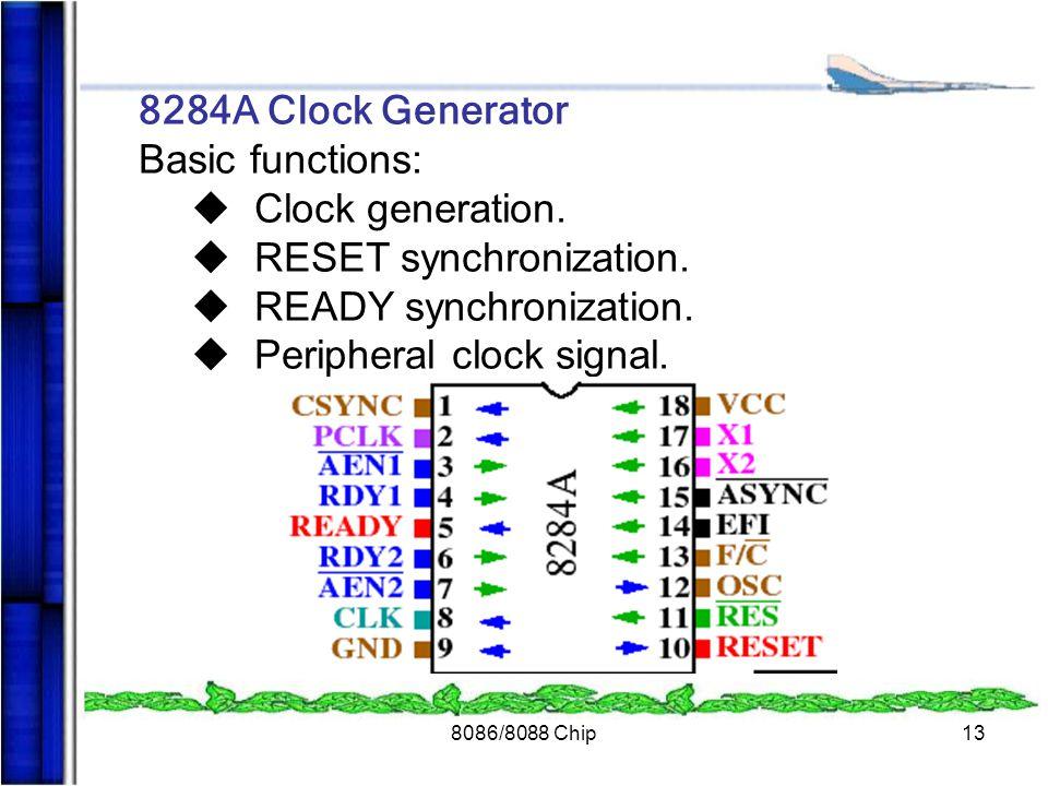 8086/8088 Chip13 8284A Clock Generator Basic functions: u Clock generation. u RESET synchronization. u READY synchronization. u Peripheral clock signa
