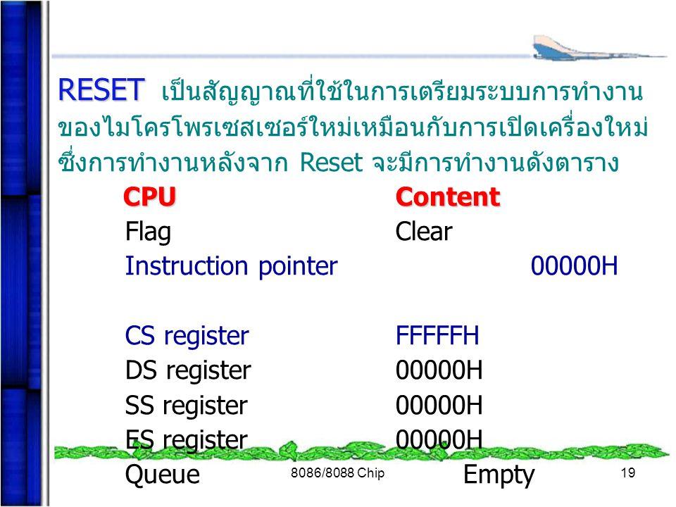 8086/8088 Chip19 RESET RESET เป็นสัญญาณที่ใช้ในการเตรียมระบบการทำงาน ของไมโครโพรเซสเซอร์ใหม่เหมือนกับการเปิดเครื่องใหม่ ซึ่งการทำงานหลังจาก Reset จะมี