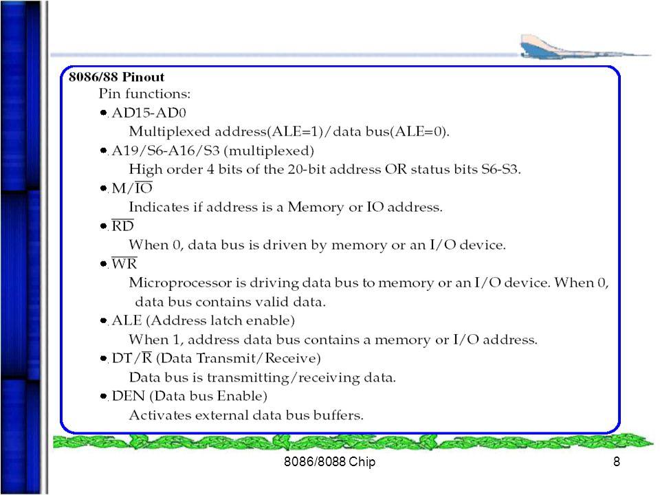 8086/8088 Chip19 RESET RESET เป็นสัญญาณที่ใช้ในการเตรียมระบบการทำงาน ของไมโครโพรเซสเซอร์ใหม่เหมือนกับการเปิดเครื่องใหม่ ซึ่งการทำงานหลังจาก Reset จะมีการทำงานดังตาราง CPU Content FlagClear Instruction pointer00000H CS registerFFFFFH DS register00000H SS register00000H ES register00000H QueueEmpty