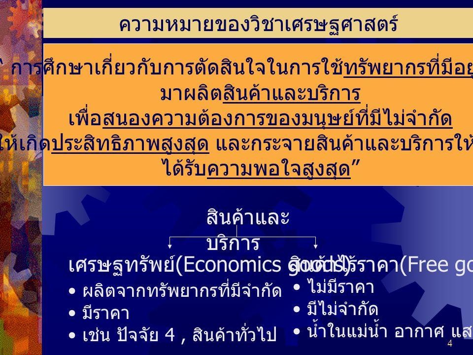 4 ความหมายของวิชาเศรษฐศาสตร์ การศึกษาเกี่ยวกับการตัดสินใจในการใช้ทรัพยากรที่มีอยู่จำกัด มาผลิตสินค้าและบริการ เพื่อสนองความต้องการของมนุษย์ที่มีไม่จำกัด ให้เกิดประสิทธิภาพสูงสุด และกระจายสินค้าและบริการให้สังคม ได้รับความพอใจสูงสุด สินค้าและ บริการ เศรษฐทรัพย์ (Economics goods) ผลิตจากทรัพยากรที่มีจำกัด มีราคา เช่น ปัจจัย 4, สินค้าทั่วไป สินค้าไร้ราคา (Free goods) ไม่มีราคา มีไม่จำกัด น้ำในแม่น้ำ อากาศ แสงแดด