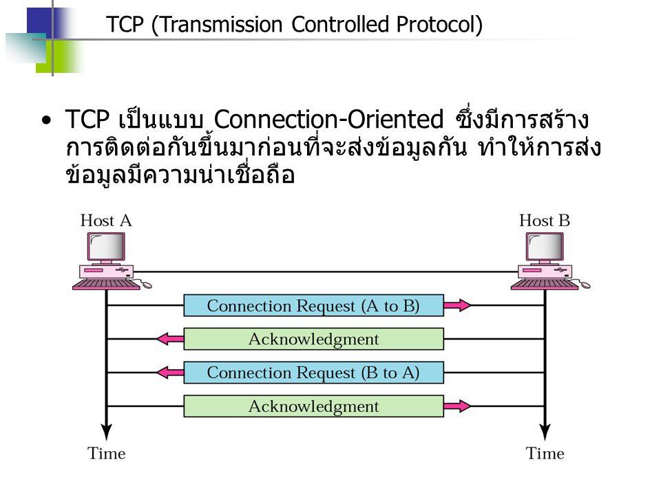 TCP (Transmission Controlled Protocol) TCP เป็นแบบ Connection-Oriented ซึ่งมีการสร้าง การติดต่อกันขึ้นมาก่อนที่จะส่งข้อมูลกัน ทำให้การส่ง ข้อมูลมีความน่าเชื่อถือ