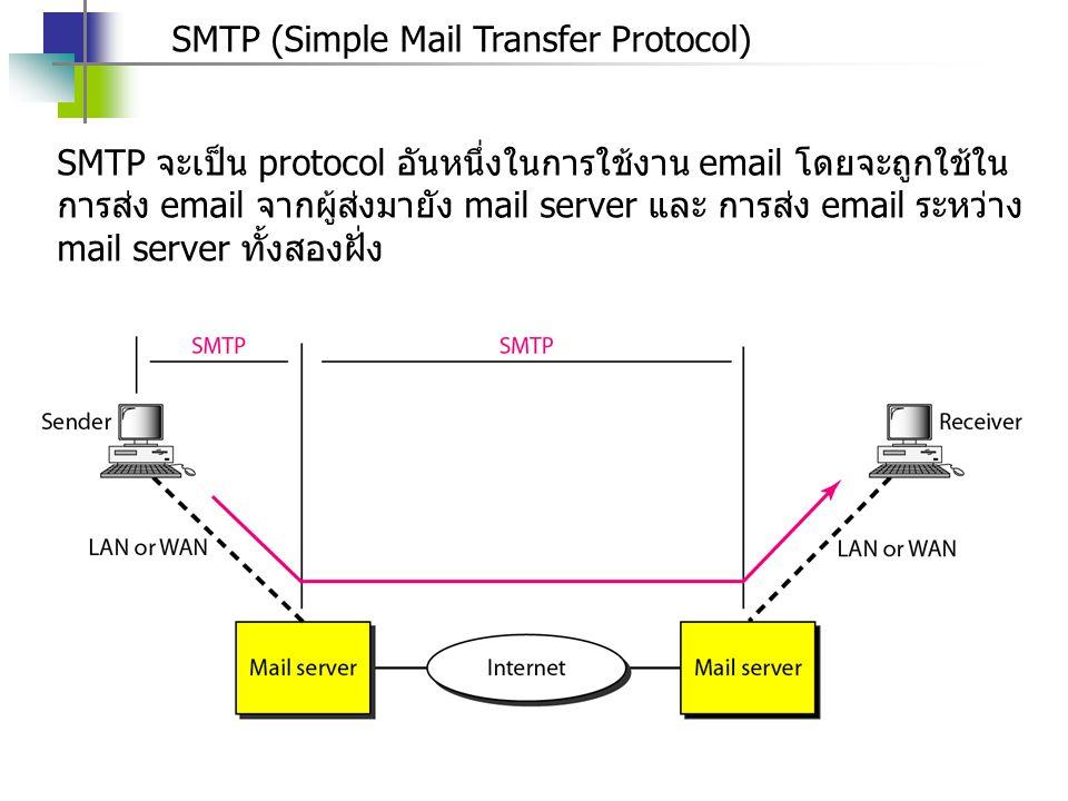 SMTP (Simple Mail Transfer Protocol) SMTP จะเป็น protocol อันหนึ่งในการใช้งาน email โดยจะถูกใช้ใน การส่ง email จากผู้ส่งมายัง mail server และ การส่ง email ระหว่าง mail server ทั้งสองฝั่ง