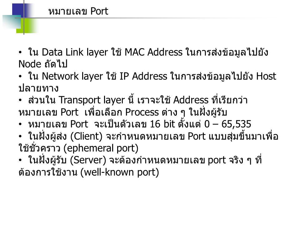 หมายเลข Port ใน Data Link layer ใช้ MAC Address ในการส่งข้อมูลไปยัง Node ถัดไป ใน Network layer ใช้ IP Address ในการส่งข้อมูลไปยัง Host ปลายทาง ส่วนใน Transport layer นี้ เราจะใช้ Address ที่เรียกว่า หมายเลข Port เพื่อเลือก Process ต่าง ๆ ในฝั่งผู้รับ หมายเลข Port จะเป็นตัวเลข 16 bit ตั้งแต่ 0 – 65,535 ในฝั่งผู้ส่ง (Client) จะกำหนดหมายเลข Port แบบสุ่มขึ้นมาเพื่อ ใช้ชั่วคราว (ephemeral port) ในฝั่งผู้รับ (Server) จะต้องกำหนดหมายเลข port จริง ๆ ที่ ต้องการใช้งาน (well-known port)