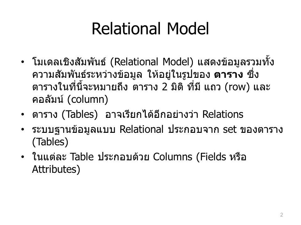 Relational Model ค่าของทุก column ต้องเป็น atomic ในแต่ละ Table ประกอบด้วย set ของแถว (แบบไม่คิดลำดับ) ในแต่ละ row จะมีค่าของ column สอดคล้องกับ column ของ Tables Keys: แนวคิดเดียวกับ Superkey, candidate key, และ primary key 3