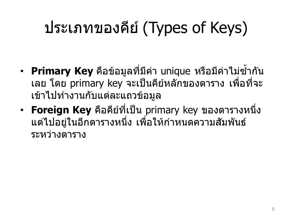 การแปลง E-R schema เป็น Tables แปลง Entity Set E โดยที่ E มี attributes a 1, a 2, …, a n – สร้าง Table E' ประกอบด้วย column a 1, a 2, …, a n –primary key ของ Table E' = primary key ของ Entity Set E Relationship Set R ของ Entities E1 กับ E2 – ให้เพิ่ม primary key ของ Entity E1 เป็น column ใน Table E2 เพื่อใช้เป็น Foreign key ไปยัง E1 สามารถเลือกตัว Entity ใดเป็น E1 หรือ E2 ก็ได้ แนะนำให้เลือก E ที่เป็น totally participated ใน Relationship set R เป็น E2 ถ้า total participated ทั้ง 2 ข้างอาจรวม 2 entities+ relationship เป็น 1 Table 7
