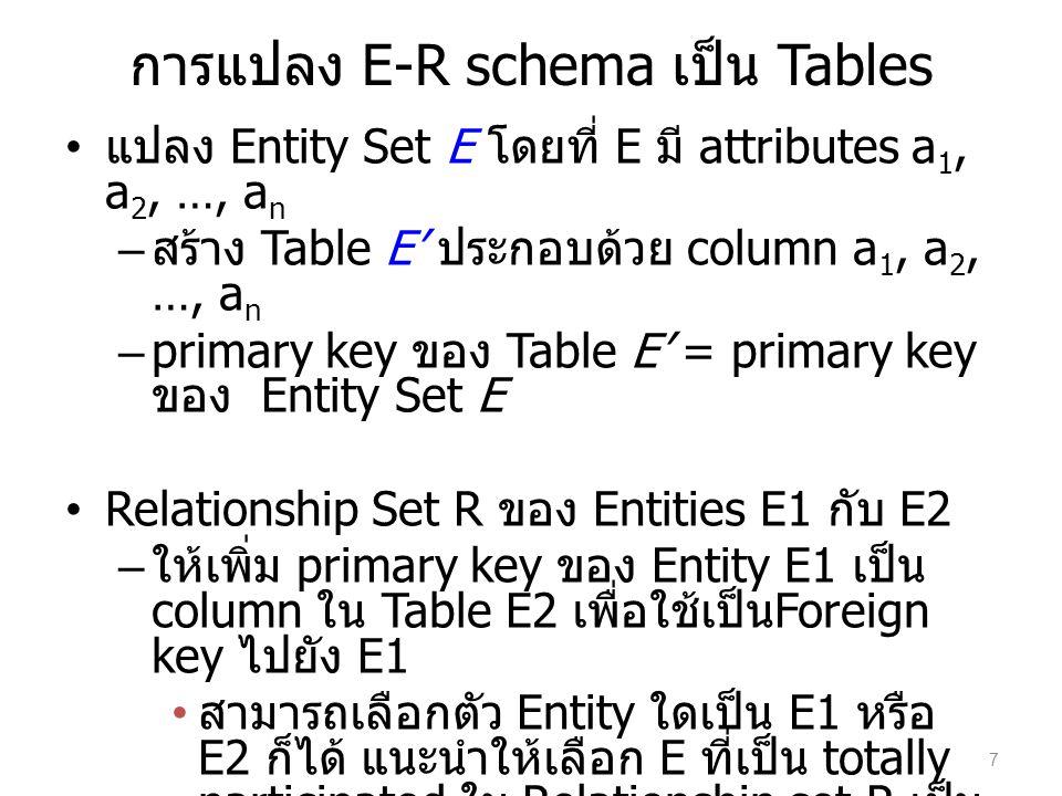 การแปลง E-R schema เป็น Tables แปลง Multivalued Attribute M ของ Entity E – สร้าง Table M โดยมี column ที่เกิดจาก attribute นั้น และ column ของ primary key ของ E 8
