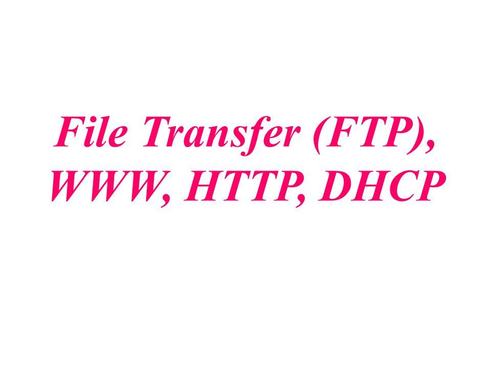 File Transfer Protocol (FTP) FTP คือ Protocol ที่ใช้ในจัดการและแลกเปลี่ยน file ข้อมูล จาก เครื่องหนึ่งไปยังเครื่องอื่น ๆ โดยส่วนใหญ่จะถูกใช้ในระบบ Internet FTP ถูกสร้างมาเพื่อให้ทำงานในแบบ client-server FTP ใช้ service ของ TCP ซึ่งต้องมี 2 การติดต่อของ TCP FTP ใช้ port 21 ในการติดต่อเพื่อควบคุม (control connection) และ port 20 เพื่อติดต่อข้อมูล (data connection)