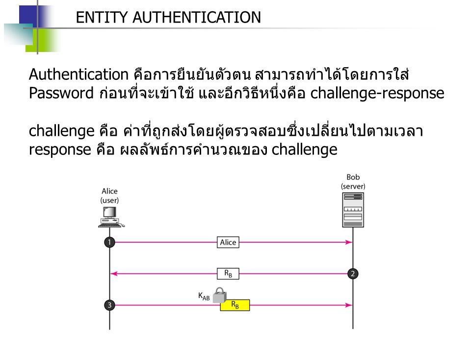 ENTITY AUTHENTICATION Authentication คือการยืนยันตัวตน สามารถทำได้โดยการใส่ Password ก่อนที่จะเข้าใช้ และอีกวิธีหนึ่งคือ challenge-response challenge