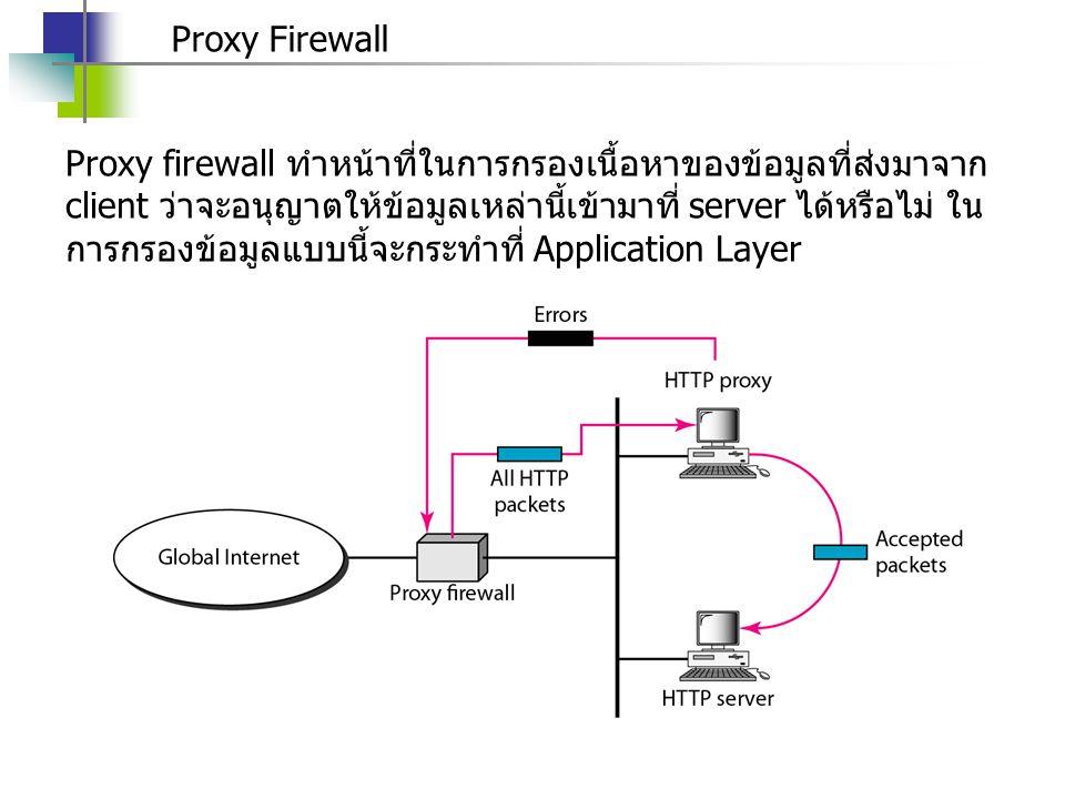 Proxy Firewall Proxy firewall ทำหน้าที่ในการกรองเนื้อหาของข้อมูลที่ส่งมาจาก client ว่าจะอนุญาตให้ข้อมูลเหล่านี้เข้ามาที่ server ได้หรือไม่ ใน การกรองข