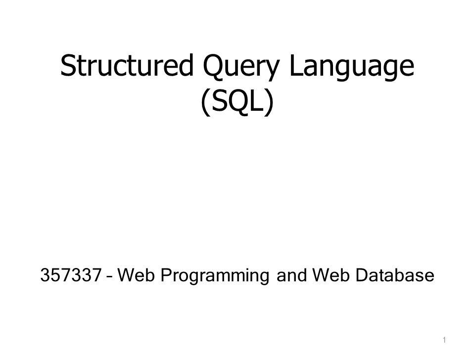 Structured Query Language (SQL) 2 SQL ที่ใช้ในระบบฐานข้อมูลแบบ Relational Database เกิดมาจาก พื้นฐานของ Relational Model อย่างเช่น Relational Algebra องค์ประกอบของภาษา SQL – Data-Definition Language (DDL) : เป็นคำสั่งเพื่อกำหนด relation schemas – Interactive data-manipulation language (DML) : เป็นการ รวมคำสั่งใน query language ที่มาจากพื้นฐานของ relational algebra และ relational calculus – Embedded DML : อยู่ในรูป library เพื่อติดต่อกับภาษาโปรแกรมอื่นๆ เช่น C, Pascal, PHP – View Definition : คำสั่งเกี่ยวกับการสร้าง view – Authorization : คำสั่งเกี่ยวกับสิทธิการเข้าถึงข้อมูล – Integrity : คำสั่งเกี่ยวกับการกำหนดความถูกต้องของข้อมูล – Transaction Control : คำสั่งเกี่ยวกับการเริ่มต้นและสิ้นสุดของ transaction เช่น lock