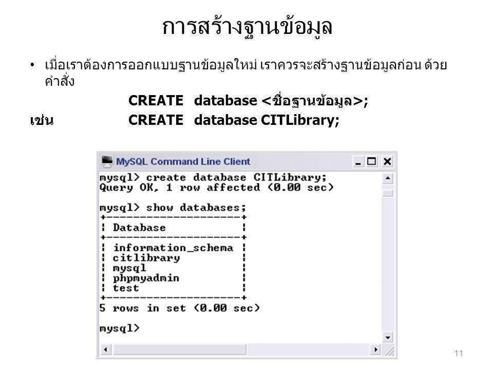 การสร้างฐานข้อมูล เมื่อเราต้องการออกแบบฐานข้อมูลใหม่ เราควรจะสร้างฐานข้อมูลก่อน ด้วย คำสั่ง CREATE database ; เช่นCREATE database CITLibrary; 11