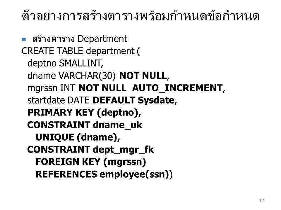 ตัวอย่างการสร้างตารางพร้อมกำหนดข้อกำหนด สร้างตาราง Department CREATE TABLE department ( deptno SMALLINT, dname VARCHAR(30) NOT NULL, mgrssn INT NOT NU