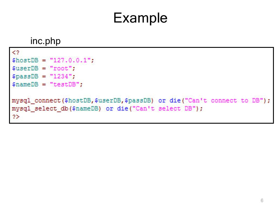6 Example inc.php