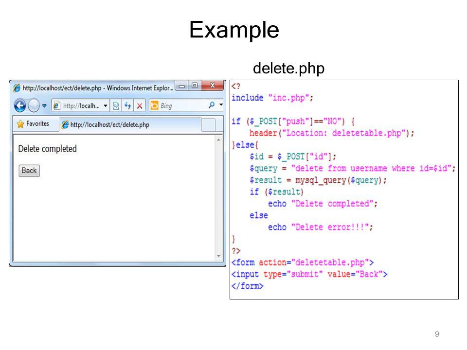 9 Example delete.php