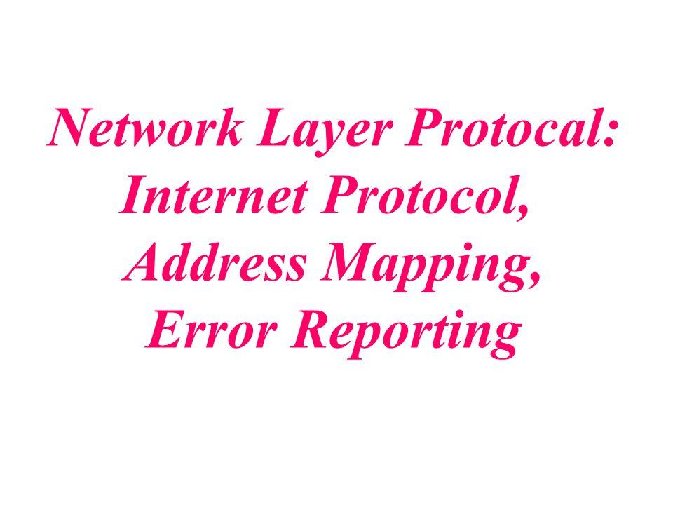 Error Reporting Error Reporting คือการรายงานความผิดพลาดที่เกิดขึ้น ซึ่งใน IP protocol จะไม่มีการรายงานความผิดพลาดใด ๆ ดังนั้นจึงมีอีกหนึ่ง protocol ที่ใช้ในการรายงานความผิดพลาดไปยังผู้ส่ง คือ ICMP (Internet Control Message Protocol ) ICMP มีรูปแบบดังนี้