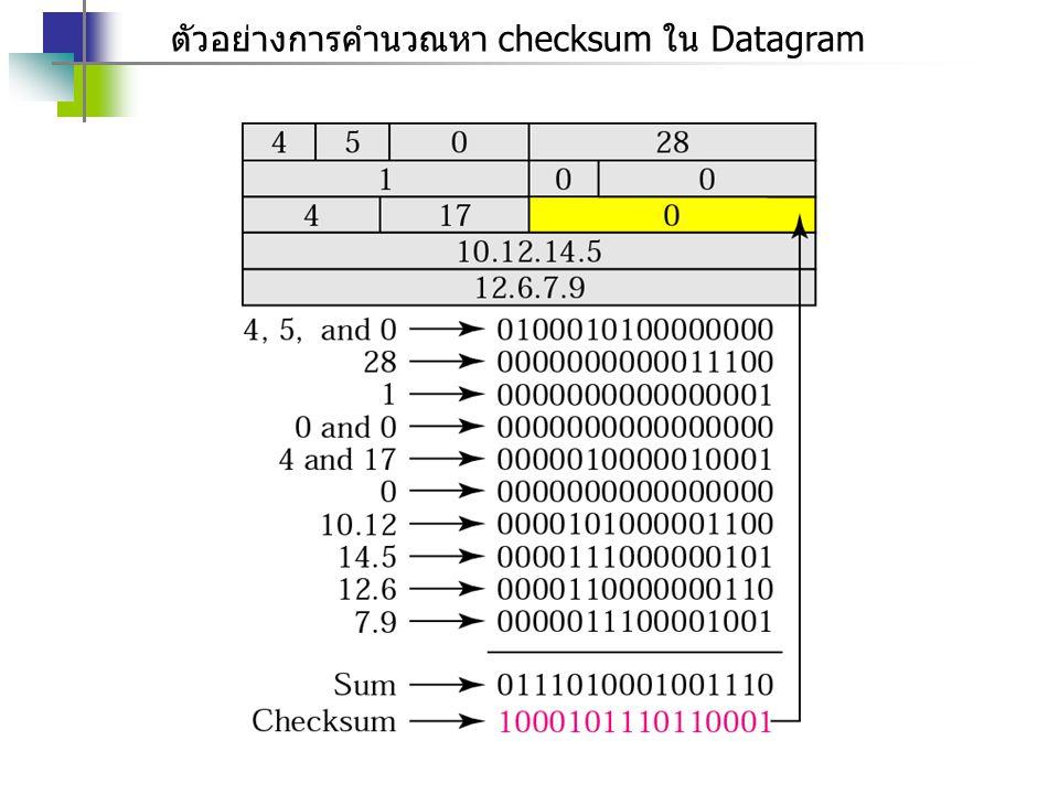 ตัวอย่างการคำนวณหา checksum ใน Datagram