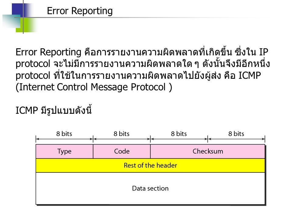 Error Reporting Error Reporting คือการรายงานความผิดพลาดที่เกิดขึ้น ซึ่งใน IP protocol จะไม่มีการรายงานความผิดพลาดใด ๆ ดังนั้นจึงมีอีกหนึ่ง protocol ที