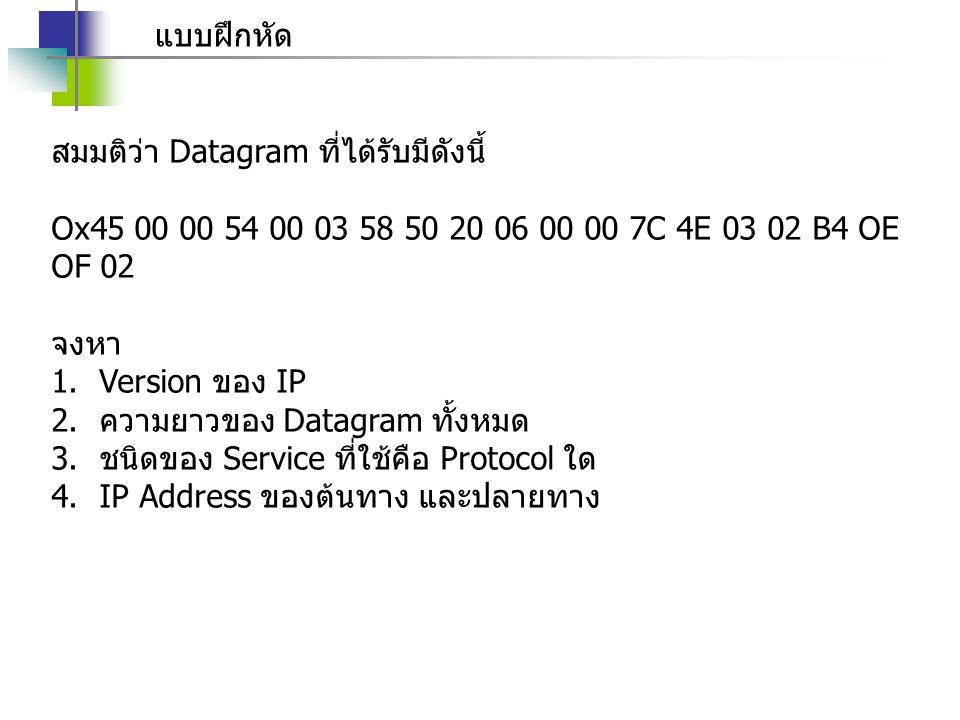 แบบฝึกหัด สมมติว่า Datagram ที่ได้รับมีดังนี้ Ox45 00 00 54 00 03 58 50 20 06 00 00 7C 4E 03 02 B4 OE OF 02 จงหา 1.Version ของ IP 2.ความยาวของ Datagra