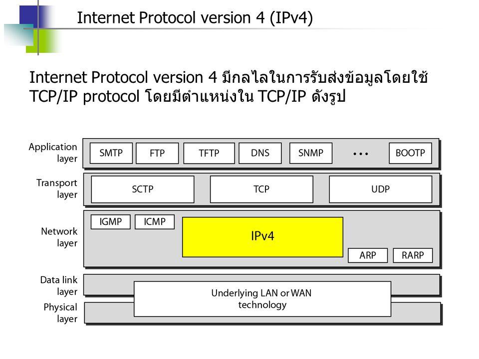 Internet Protocol version 4 (IPv4) Internet Protocol version 4 มีกลไลในการรับส่งข้อมูลโดยใช้ TCP/IP protocol โดยมีตำแหน่งใน TCP/IP ดังรูป