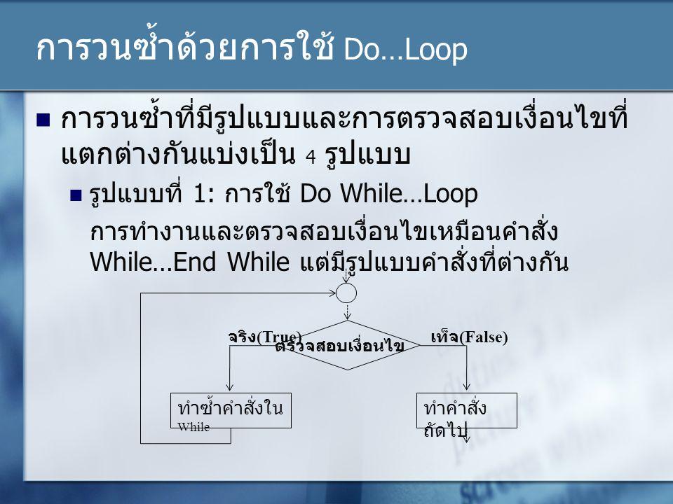 การวนซ้ำด้วยการใช้ Do…Loop การวนซ้ำที่มีรูปแบบและการตรวจสอบเงื่อนไขที่ แตกต่างกันแบ่งเป็น 4 รูปแบบ รูปแบบที่ 1: การใช้ Do While…Loop การทำงานและตรวจสอ