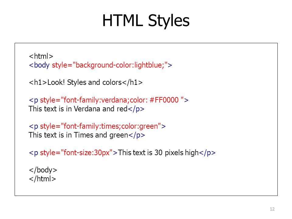 HTML Styles Look! Styles and colors This text is in Verdana and red This text is in Times and green This text is 30 pixels high 12