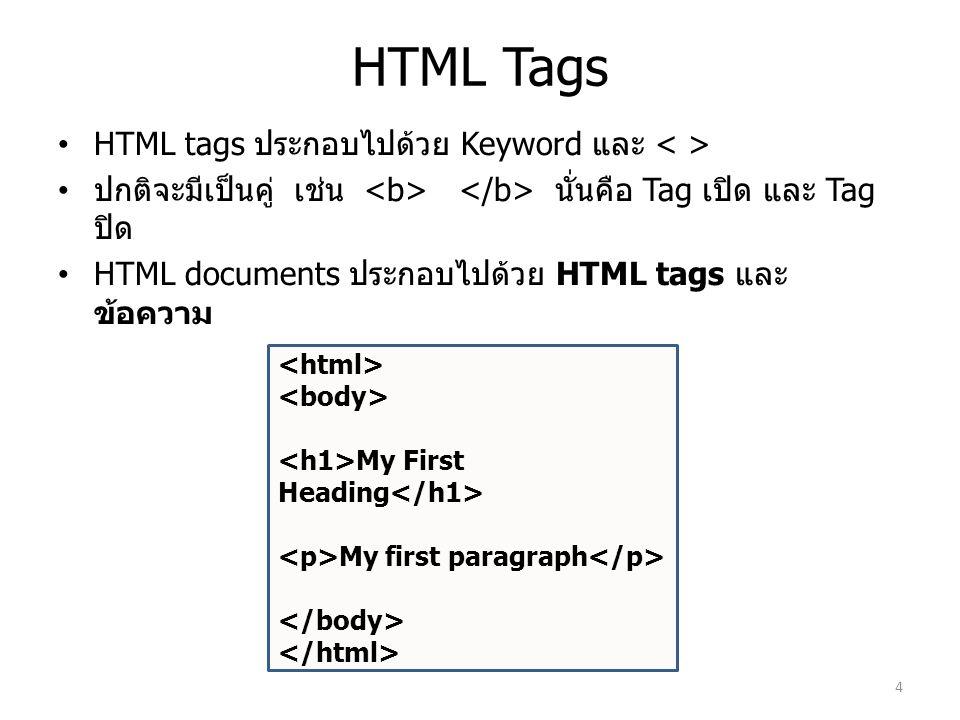 HTML Tags HTML tags ประกอบไปด้วย Keyword และ ปกติจะมีเป็นคู่ เช่น นั่นคือ Tag เปิด และ Tag ปิด HTML documents ประกอบไปด้วย HTML tags และ ข้อความ My Fi