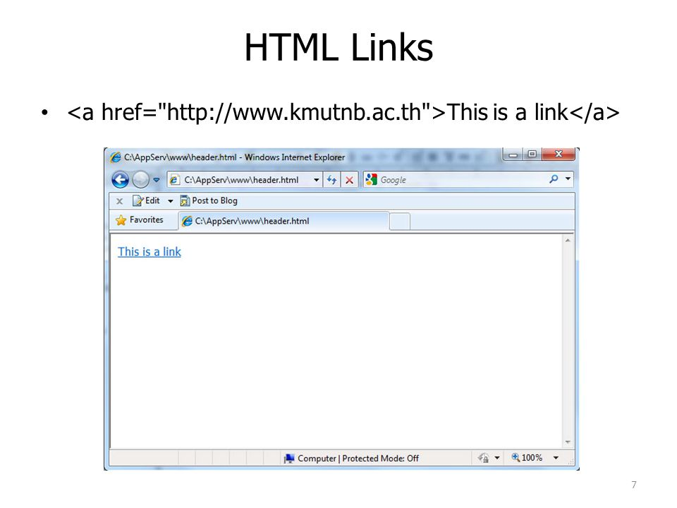 HTML Links This is a link 7