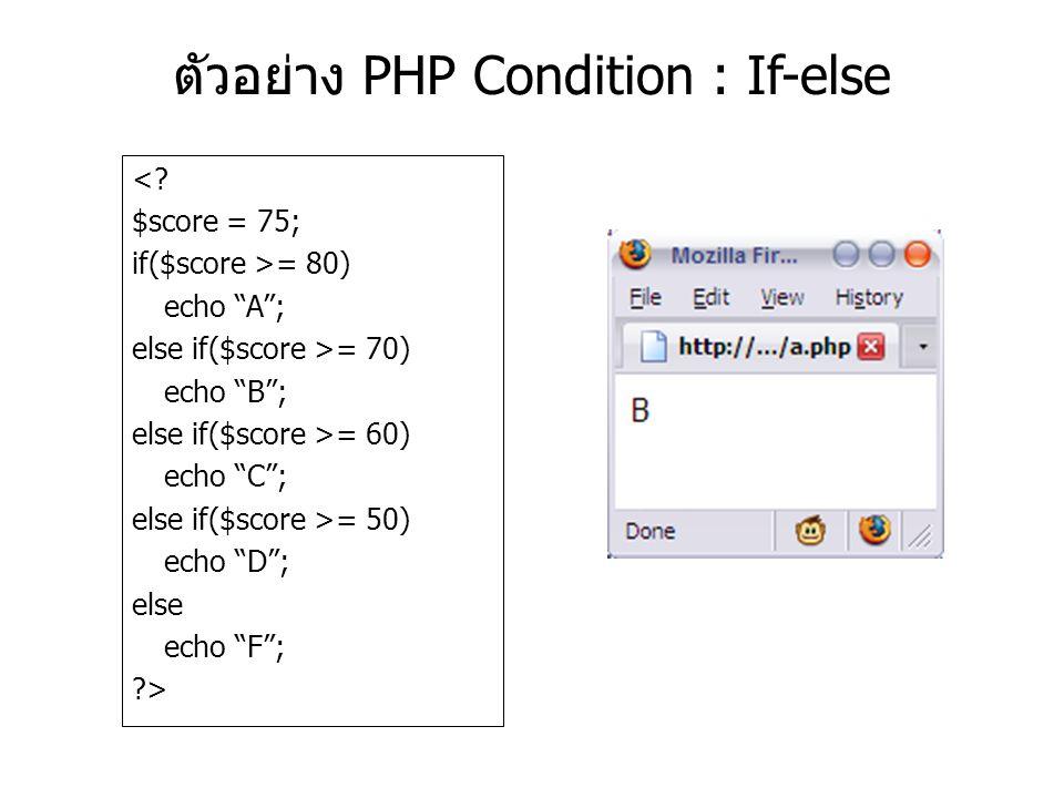 ตัวอย่าง PHP Condition : If-else <.
