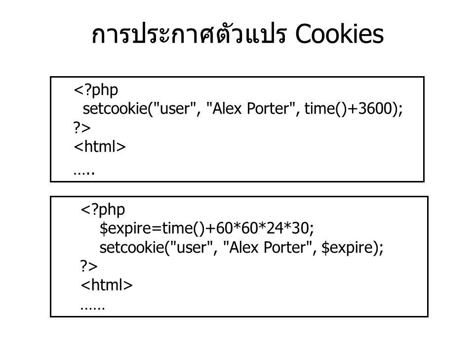 การประกาศตัวแปร Cookies ….. ……