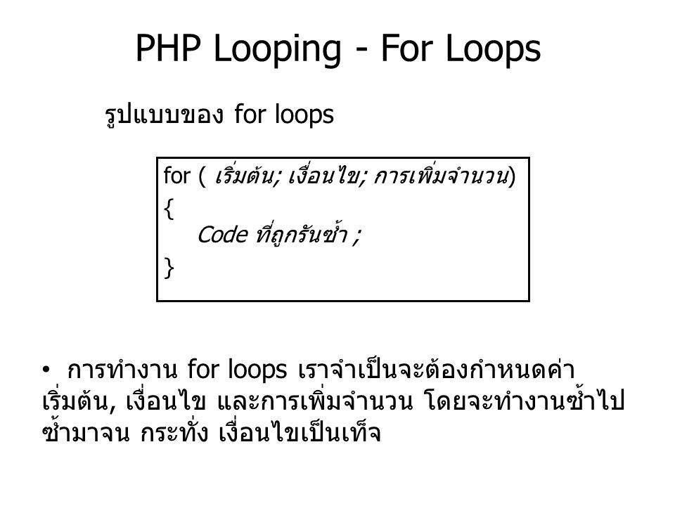 PHP Looping - For Loops for ( เริ่มต้น; เงื่อนไข; การเพิ่มจำนวน) { Code ที่ถูกรันซ้ำ ; } รูปแบบของ for loops การทำงาน for loops เราจำเป็นจะต้องกำหนดค่